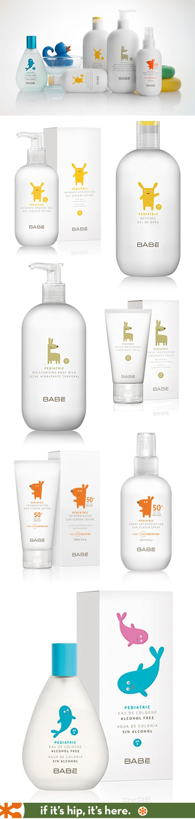 Nicely designed line of pediatric skin care (Babe Pediatrico) by Lavernia & Cienfuegos.