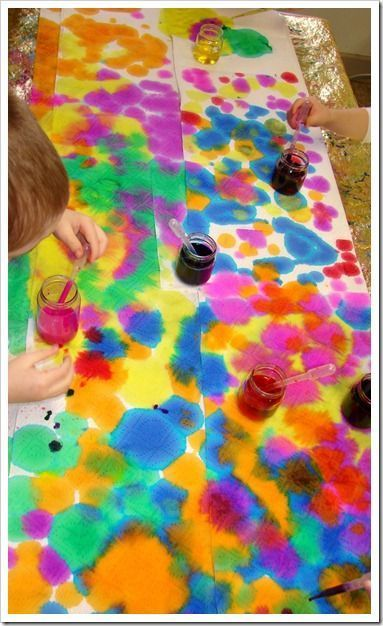 abstract art with droppers, liquid water colors, and paper towels - beautiful and great for fine motor development