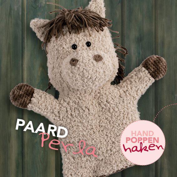 Paard Perla uit mijn boek Handpoppen haken #haken #haakpatroon #gehaakt #amigurumi #knuffel #gehaakt #crochet #häkeln #cutedutch