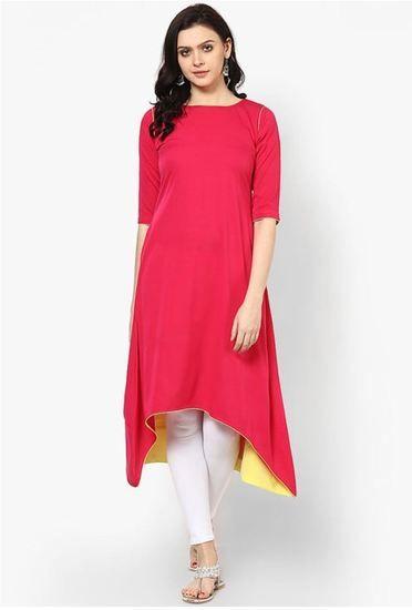 Styles Closet Designer Plain Pink Colour Cotton Kurti - Styles Closet Kurtas & kurtis for women | buy women kurtas and kurtis online in indium