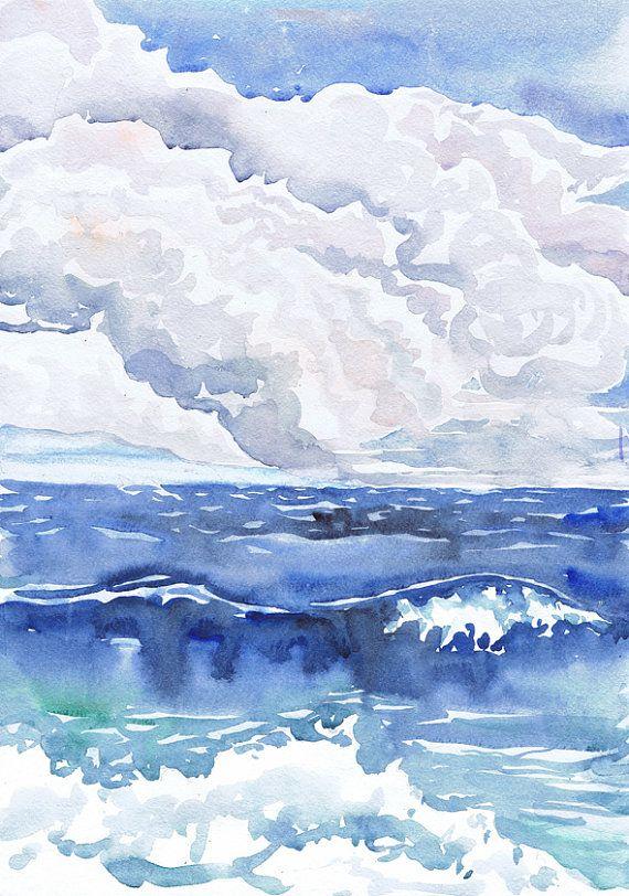 Landscape painting, wave art print, watercolor, Seascape wall art , ocean Décor…