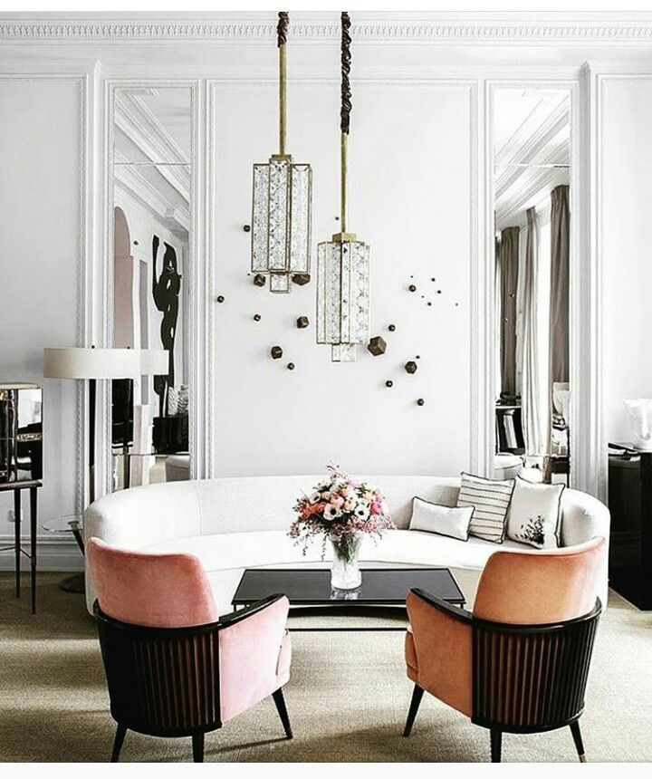 Gorgeous Living Room With White Walls White Sofa And Pink Chairs Contemporary Home Decor Living Room Lighting Interior Design