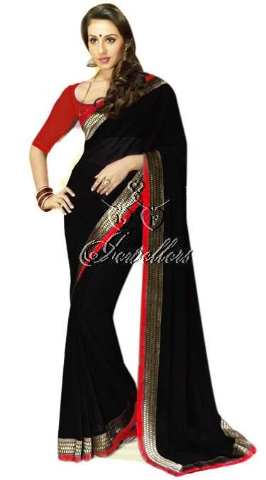 Faux chiffon sarees with beautiful border with contrast colour blouse   Material: Faux Chiffon  Colour: Black with Red and gold border   Price: $62 (AUD)  https://www.facebook.com/pages/LF-Jewellers/423983984326803?id=423983984326803&sk=photos_stream#!/photo.php?fbid=690548304337035&set=pb.423983984326803.-2207520000.1396940682.&type=3&theater