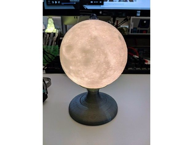 Moon Lamp With Circular Base By Kelvin8r Thingiverse Led Light Stick Lamp Circular