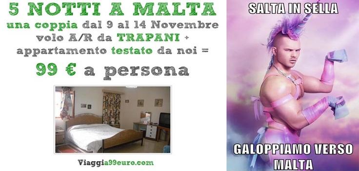 5 NOTTI A #MALTA per una coppia, dal 9 al 14 Novembre, #volo da #Trapani + #appartamento: 99 € a persona!
