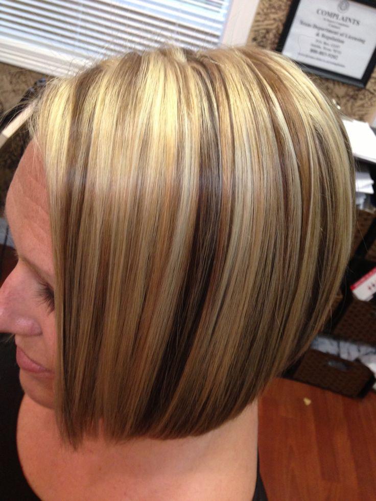 2013 Highlights Lowlights Haircolor Angled Bob Blonde