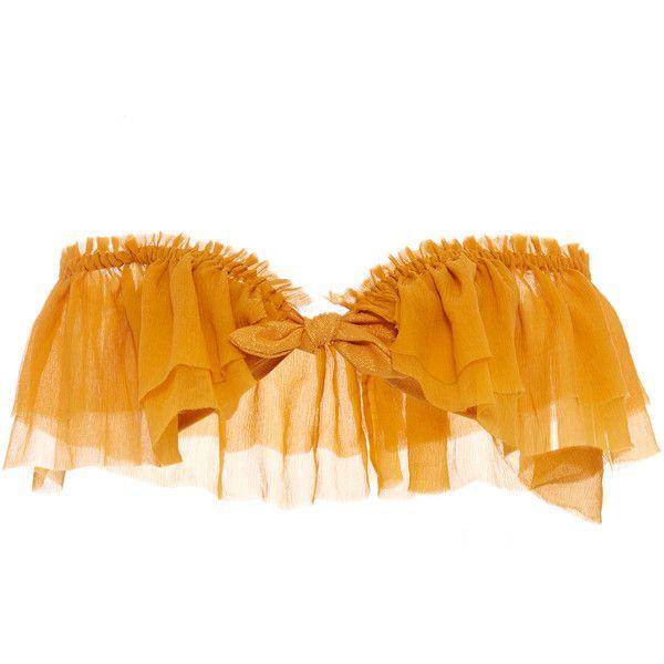 Agua de Coco Ruffle Bandeau Bikini Top ($255) ❤ liked on Polyvore featuring swimwear, bikinis, bikini tops, yellow, flounce bandeau bikini top, tie front bikini top, flounce bikini top, off the shoulder bikini top and off-shoulder bikinis