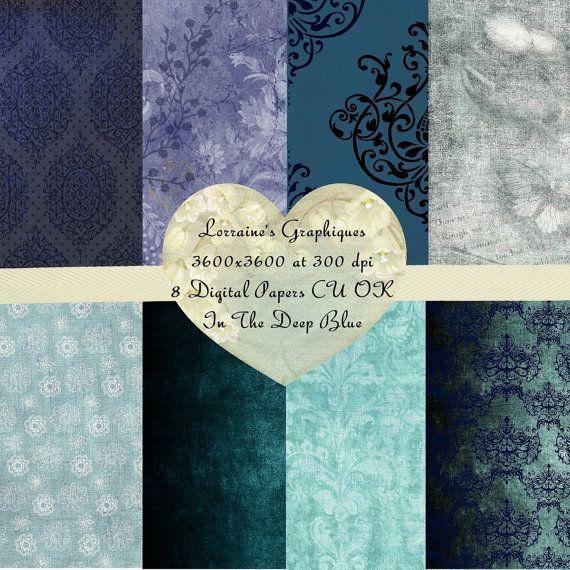 Into the Deep Blue:  A Pantone 2014 Cobalt Blue Inspired Digital Paper Set