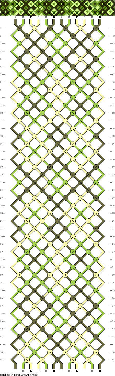 pour 5 motifs (22cm) + 4cm de tresse : vert foncé : 2 fils de 302,5 cm vert clair : 2 fils de 283 cm beige : 2 fils de 270 cm