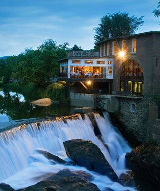 ♥ Simon Pearce Restaurant, Quechee, VT ... romantic restaurant set at the falls and covered bridge on the Ottauquechee River ... try for table #5, a table for two set directly over the rushing river.