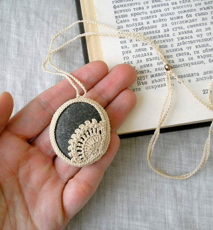 ... Stone Necklace - Crochet Jewelry - Lace Stone Necklace - Beach Stone