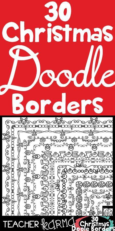 Christmas Doodle Borders Teaching First Grade Pinterest