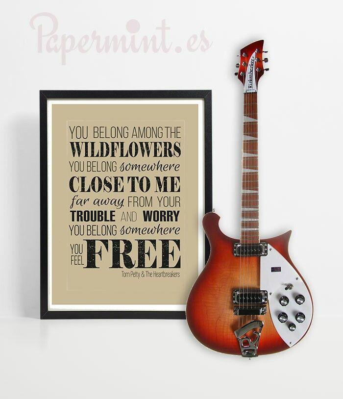 "Lámina con letra de ""wildflowers"" - Tom Petty. Disponible en 48h. Papermint"