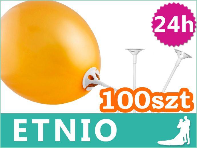PATYCZKI z KOSZYCZKAMI do balonów 100szt Balony