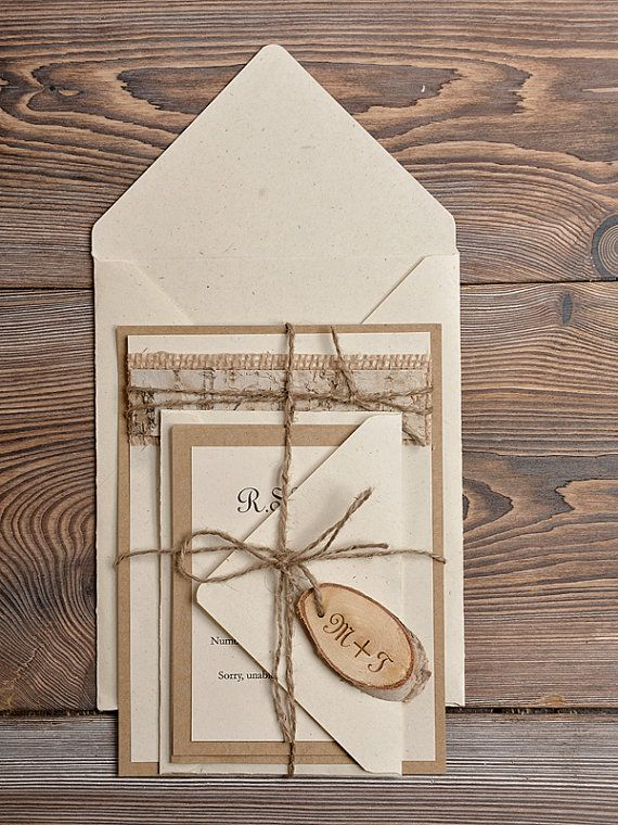 Lace Eco  Recycling Paper  Wedding Invitation,  Birch Bark Slice Rustic Wedding  Invitations,  Country Style Wedding Invitations on Etsy, $4.28