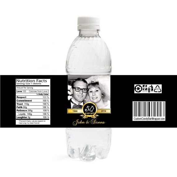 Gold Photo 50th Anniversary Water Bottle Labels ...