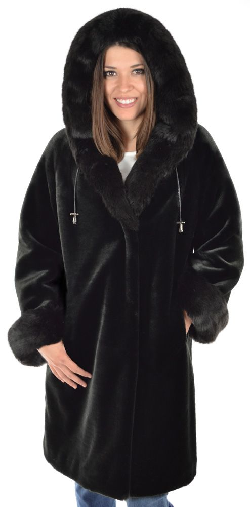 Black Beaver with Fox Trim Hooded faux fur Parka by Silk & Sable