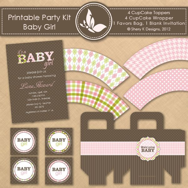 Printable Kit Baby Shower Girl This Listing Is For 4 CupCake Toppers, 4  CupCake Wrapper