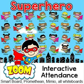 Superhero Theme Interactive Attendance Sheet for Interactive Whiteboards: Have fun taking attendance with this superhero kids theme interactive attendance sheet! Students touch their character when they arrive in class and their character will fly off screen.