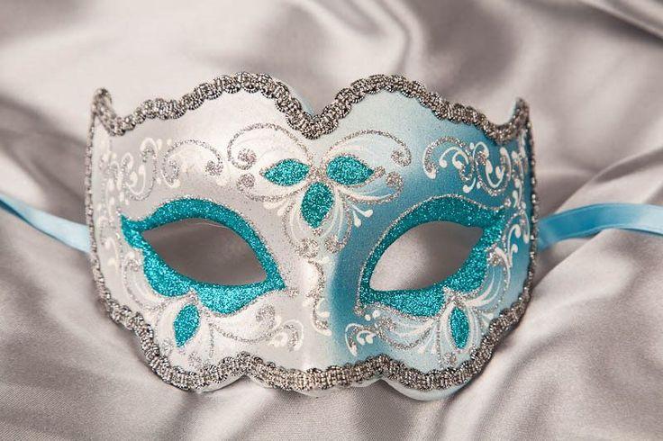Half face Venetian Masquerade Ball Masks - IRIS SILVER