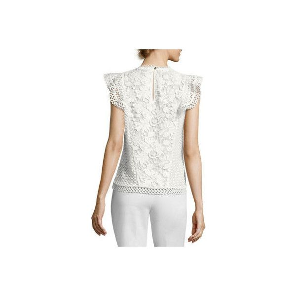Ted Baker London Zania Floral Guipure Lace Ruffle-Trim Top ($239) ❤ liked on Polyvore featuring tops, blouses, white, white frilly blouse, floral blouse, white lace blouse, ruffle blouse and white sleeveless blouse