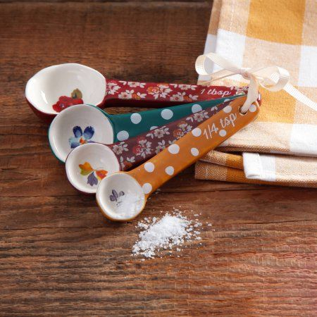 The Pioneer Woman Fall Flowers Ceramic Measuring Spoons - Walmart.com