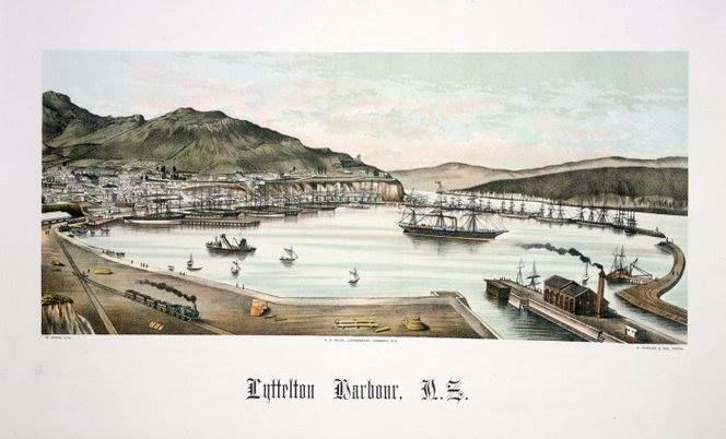 Beautiful early lithograph of Lyttelton Harbour. Plate 8, 1889 from The story of New Zealand and descriptions of its cities and towns by Edward Wakefield. Ref: PUBL-0019-08. Alexander Turnbull Library, Wellington, New Zealand.