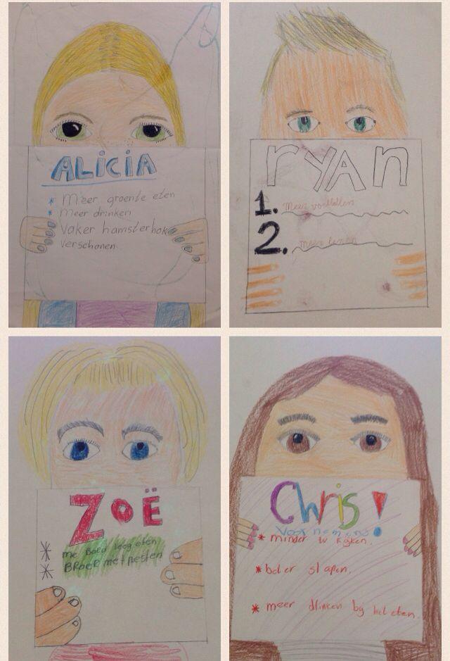 Zelfportret + goede voornemens. Nadruk op OGEN en HAAR. Gemaakt door kinderen…