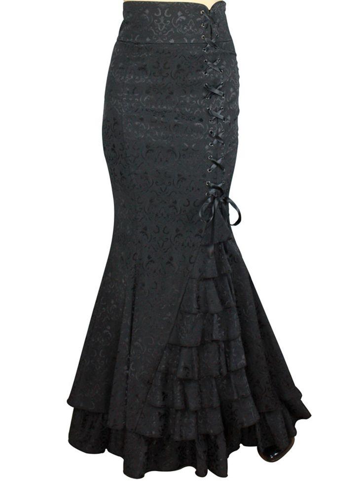 Chic Star - Black Jacquard Laces And Ruffles Fishtail Skirt