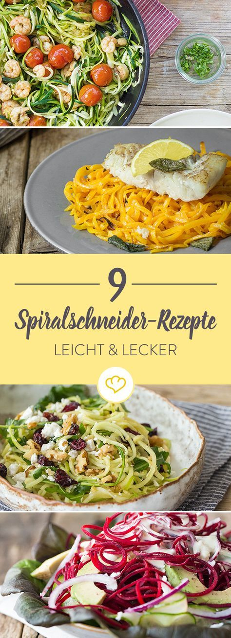 Zucchini, Gurken und Karotten - leichte Spiralschneider-Rezepte, die alles mitbringen, was du für eine gesunde Low-Carb-Ernährung brauchst.