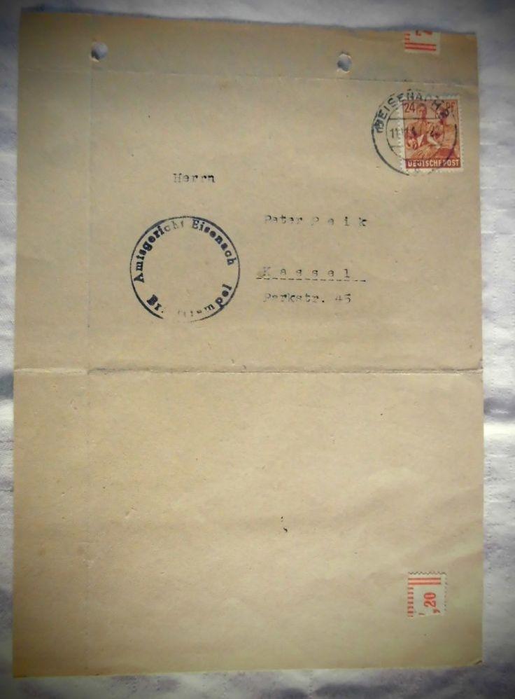 Ganzsache gelaufen 1947 in Eisenach, seltene 24 Pfg. Briefmarke