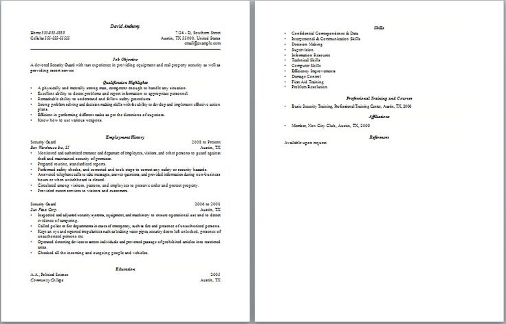 Security Guard Resume Example - http://www.resumecareer.info/security-guard-resume-example-10/