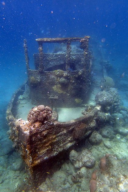 The Sunken Tugboat on http://curacao.for91days.com