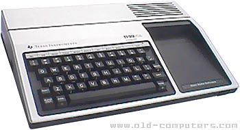 Texas Instruments  TI 99 / 4A  	    The Texas Instrument TI 99/4A was a very succesful computer. A large number ROM cartridges (36 KB each) were developped for this computer, as the popular Extended Basic.    Up to seven peripherals could be connected : 32 KB RAM extension, RS232c, Disk controler (90 KB per disk, up to 3 disk-drives), speech synthetiser, Peripheral Expansion box...