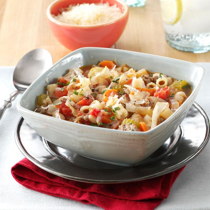 Slow Cooker Pasta e Fagioli Recipe -This chunky soup is good to the last spoonful. It's my go-to recipe because it's so hearty and we all always want more. —Penny Novy, Buffalo Grove, Illinois