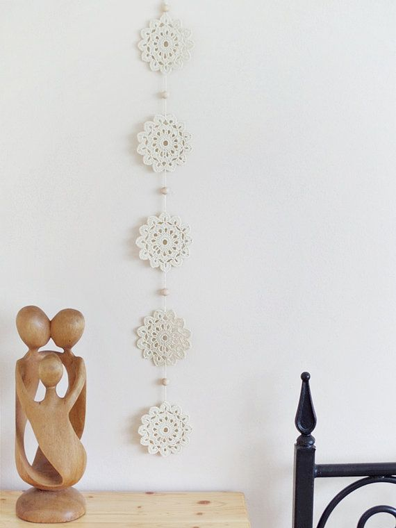 Crocheted garland cotton crochet wall decoration by DiaCrochets