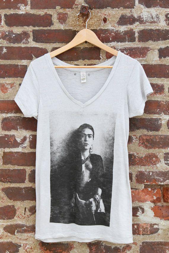 Frida's Got A Gun Frida Kahlo T-shirt Grey by MagdalenaConcepts