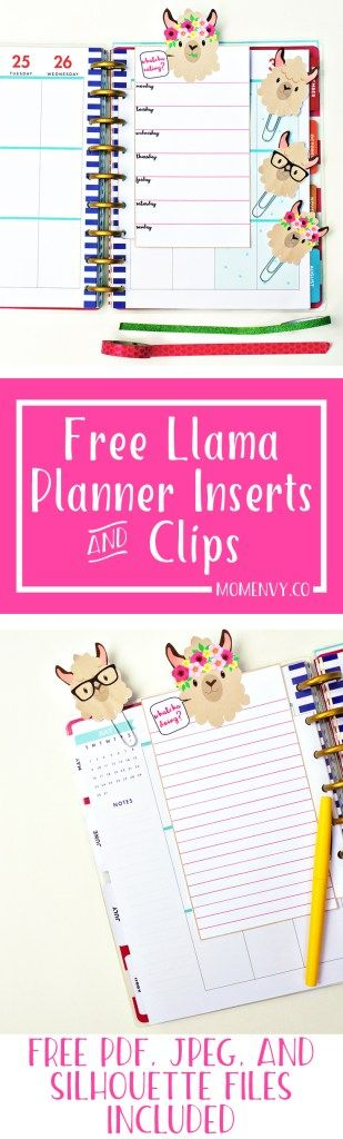 Free Llama Planner Inserts & Planner Clips - Free Planner Accessories