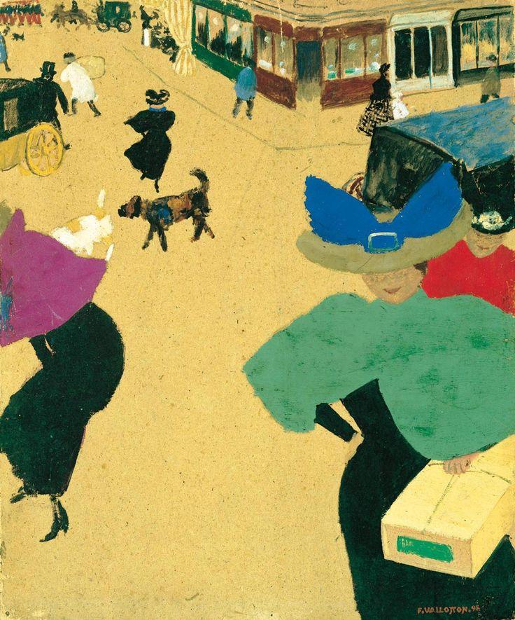 Félix Vallotton, Scène de rue à Paris, vers 1895-1897, gouache et huile sur carton,  35,9 x 29,5 cm. New York, The Metropolitan Museum of Art, Robert Lehman Collection ©