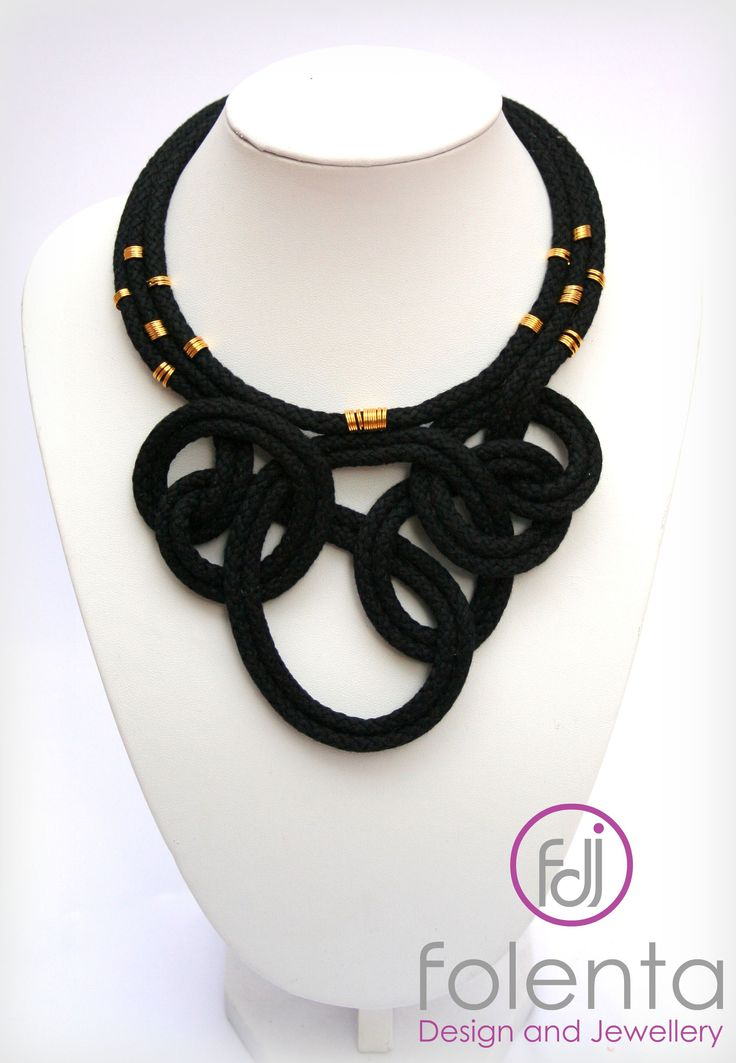 Black- gold rope necklace