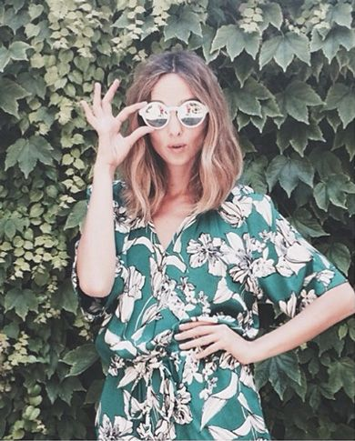 Love this green floral button up jumpsuit! So cute.