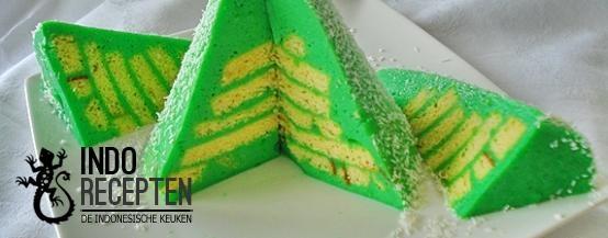 Kue Kaya Pandan - Pandangebak met laagjes cake - Cake in layers with green custard