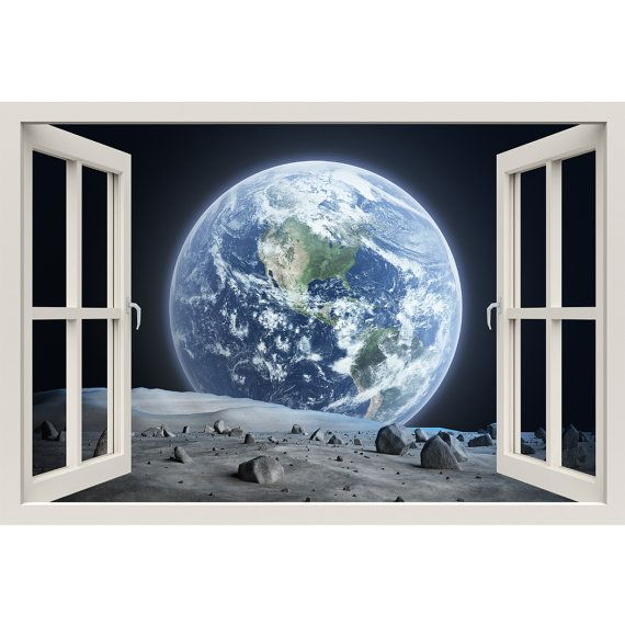 Window Frame Mural The Earth from the Moon - Huge size - Peel and Stick Fabric Illusion 3D Wall Decal Photo Sticker
