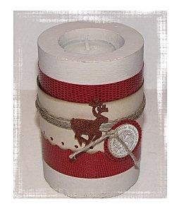 bougie dans support en plâtre moulé (tube de SPRINGLE, tester rouleau papier wc...)