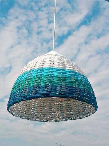 lampara mimbre super colores 40x30