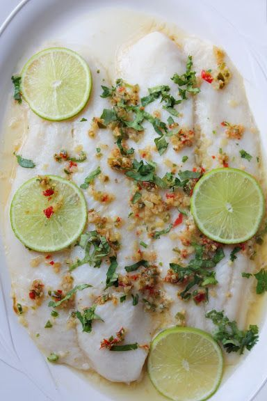 Steamed Fish with Lime, Garlic, and Chilies - Pla Nueng Ma-Nao (ปลานึ่งมะนาว) | Thai Food by SheSimmers  http://carers.xyz