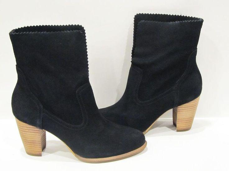 New Box Womens Black UGG Australia Thames Foldover Leather High Heel Boots 5.5 6 #UGGAustralia #AnkleBoots