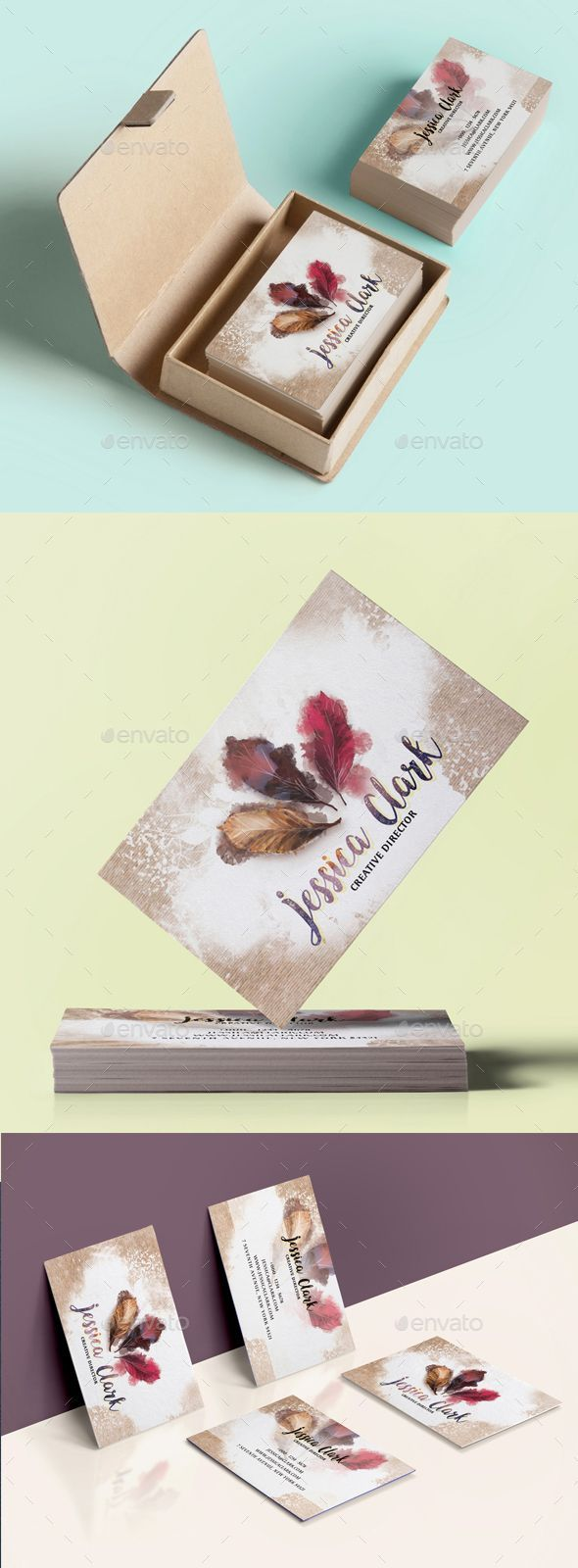 Warm Watercolor Business Card - Creative #Business #Cards Download here:  https://graphicriver.net/item/warm-watercolor-business-card/18750121?ref=alena994