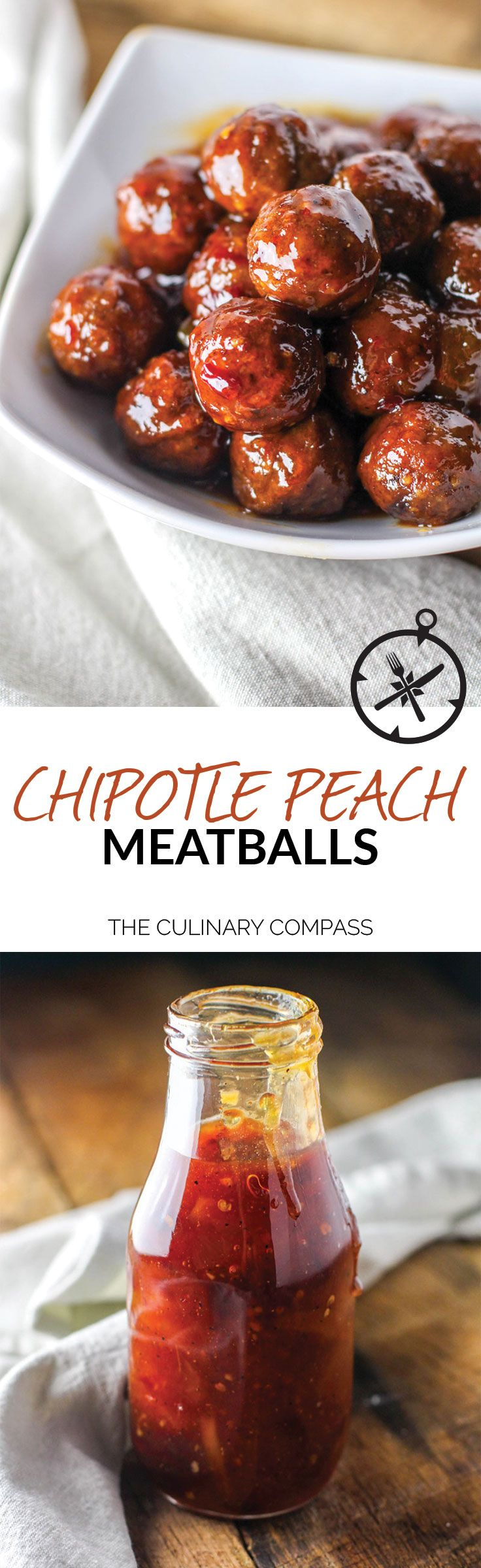 These Chipotle Peach Meatballs have the perfect kick for any occasion and are so easy to make! via @culinarycompass