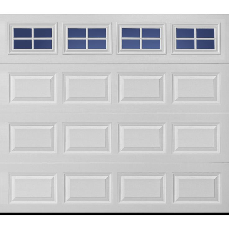 pella traditional series 108in x 84in insulated white single garage door with windows